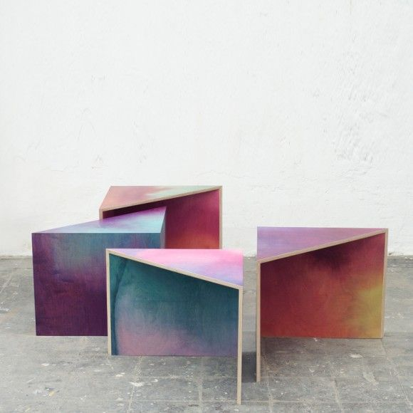 WOODEN AQUARELLE SIDE TABLES