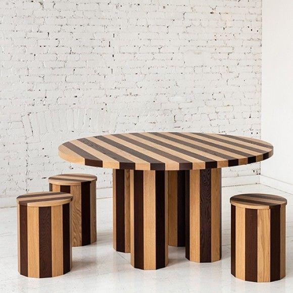 Cooperage Round Dining Table and Stools